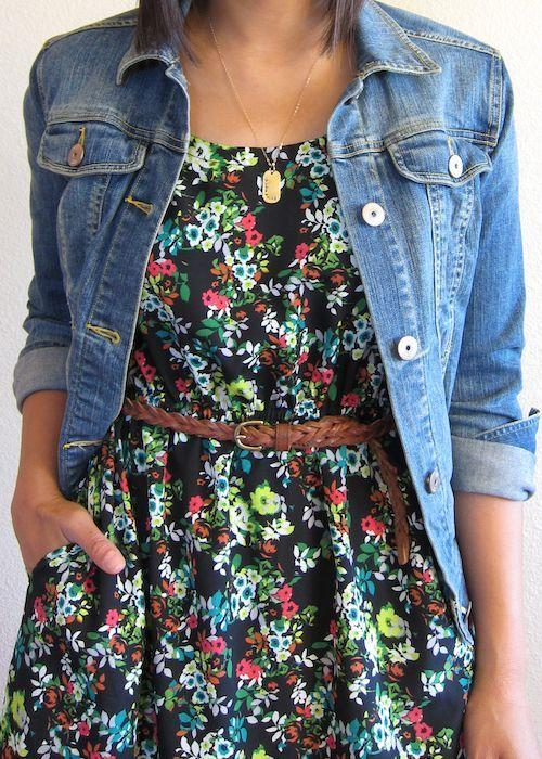 Try pairing two trends together, such as this floral dress worn with a denim jacket!