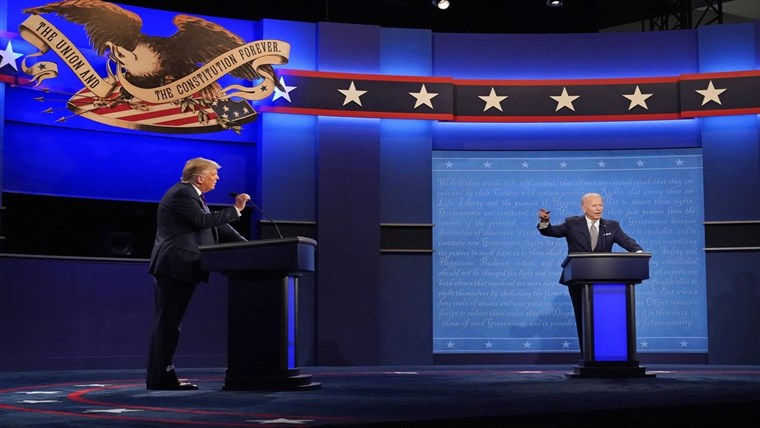 An image from one of the 2020 presidential debates between Donald Trump and Joe Biden